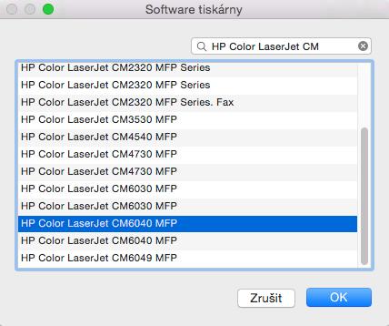 """Zvole """"Vybrat software..."""" a nastavte HP LaserJet 4200 Series"""